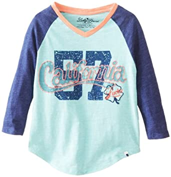 Lucky Brand Big Girls' Long Sleeve California Raglan Tee, Aqua Springs, Small