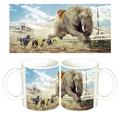 carrera-de-perros-y-elefante-dogs-elephant-races-tasse-mug