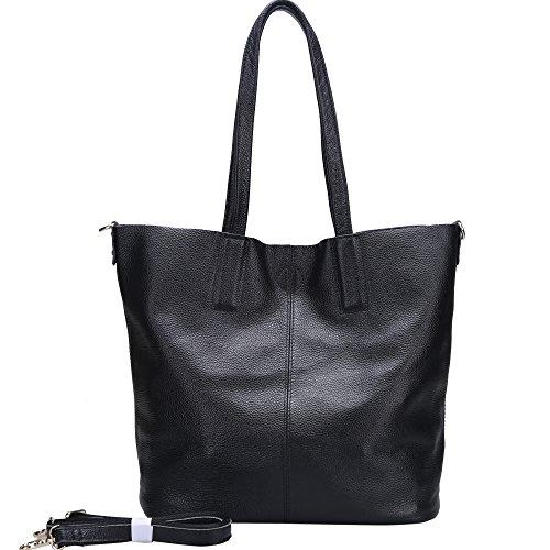 Damero Pelle delle donne Tote Bag / borsa con tracolla e fodera rimovibile, nero
