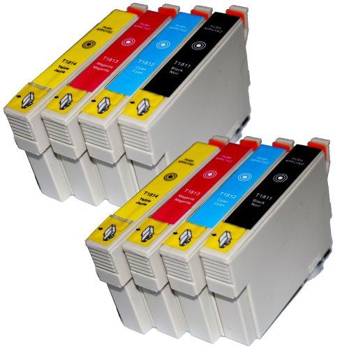 8 Druckerpatronen Kompatibel für Epson T1811 - T1814 Tintenpatronen für Expression Home XP 102 XP 202 XP 205 XP 30 XP 302 XP 305 XP 402 XP 405 XP 405WH XP 212 XP 215 XP 312 XP 315 XP 412 XP 415 Patronen - mit Chip