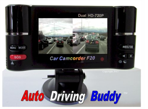 Auto Driving Buddy Plug & Play Dual Camera Driving Recorder. 3 Mega pixel photo and 720P High resolution video Dash camera recorder. 32 GB Memory Included . Accident, Incident Evidence Recorder Dvr. Plug & Play H.264 3 Mega Pixels 180 Degrees Rotate Mini Portable Double Lens Driving Recorder Car Recorder DVR Camcorder Camera Hd Full 720p with 2.7 Inch TFT LCD Screen Infrared LED Night Vision Model F20. Buying from Securitycameradirect Saves You Money.