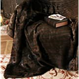 Rich Truffle Brown Extra Large Faux Fur Throw Bed Blanket 200 x 150cm