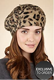 Twiggy for M&S Woman Animal Print Furgora Beret Hat with Angora