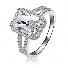 buy Womens Rings Alloy Big Rectangle Cut 18K Gold Plated Swiss Cz Size Us 7 By Aienid