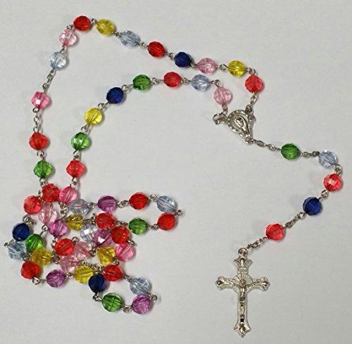 Multicolore, motivo rosario Collana In argento a croce, per uomo, donna e ragazza Effectz Sterling