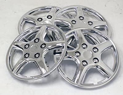 TuningPros WSC-028BC15 Chrome Hubcaps Wheel Skin Cover 15-Inches Silver Set of 4
