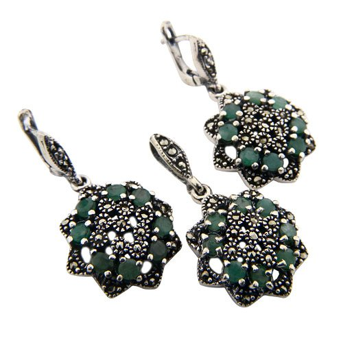 19+g Natural Green Emerald Gemstone Marcasite Genuine Silver Earring Pendant Set