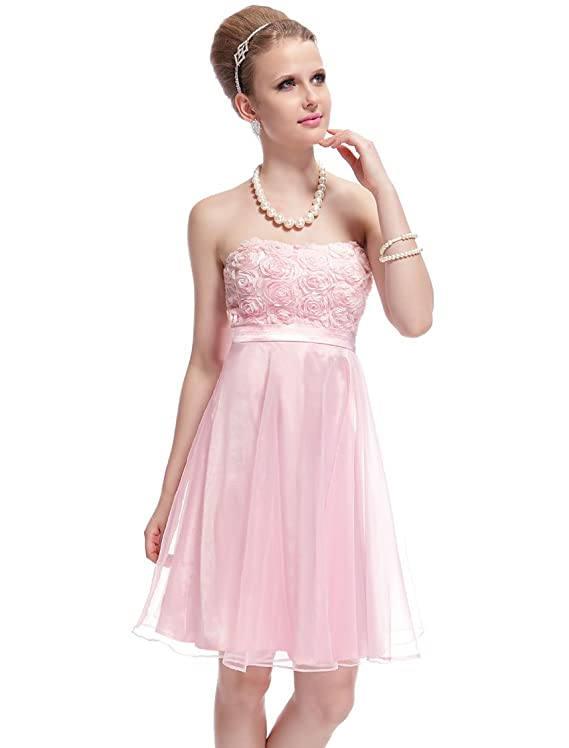 Ever Pretty Strapless Flower Lovely Pink Organza Short Homecoming Dress 03979