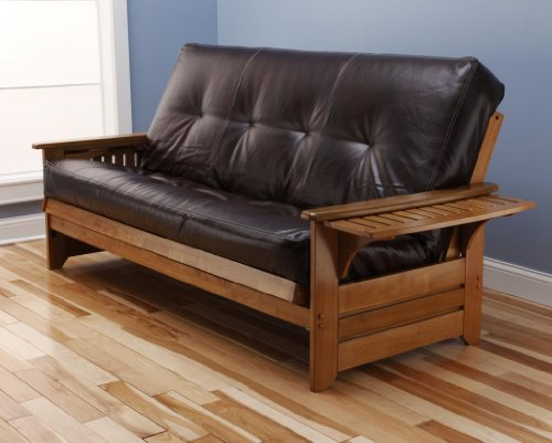 Buy Cheap Rosemount Full Size Futon, Honey Oak Wood With Bonded Leather Innerspring Mattress, Java