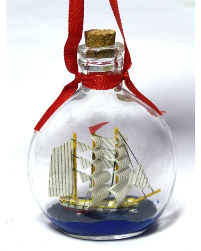"Boat in a Bottle Ornament – Make It a Nautical Holiday – 3.75"" X 2.75″ – Not Just for Christmas, Can Be Used As a Hanging Ornament – New"
