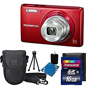Olympus Stylus VG-180 16-Megapixel 5X 26mm Wide Optical Zoom 2.7 Inch LCD - RED With Case + 16GB SD Card Accessory Kit
