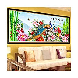 5D Cross Stitch Fortune Comes with Blooming Flowers Peacock Living Room Diamond Painting Diamond Stitch