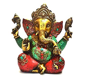 "9"" Ganesh Statue- Large Metal Brass Ganesha Good Luck Home Vintage Style Collectible Figurine- Hindu Lord of Good Fortune & Prosperity Thanksgiving Gift"