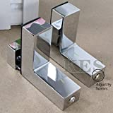 KES HSB301A-P2 Solid Metal Adjustable Wood/Glass Shelf Bracket Wall Mount 2 Pcs or One Pair, Polished Chrome