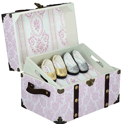 Pink Steamer Accessory Trunk for 18 Inch American Girl Doll Accessories. Great to Store Shoes and Smaller Doll Clothes Accessories. Perfect Jewelry Box Later!