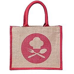 Organic Jute Lunch-Bag DINE-3 Design,Red-Landscape