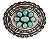 Navajo Native American Handcrafted Mine Number 8 Turquoise and Sterling Silver Belt Buckle by Roland Dixson