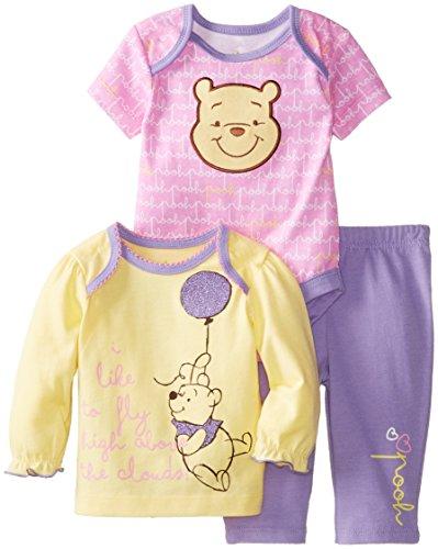 Disney Baby Baby-Girls Pooh 3 Piece Pant Set, Multi, 3/6 Months front-348234