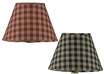 Park Designs Sturbridge Fabric Lamp Shade Black Wine Country Style Plaid