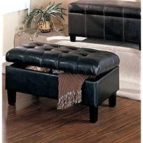 New Black Bycast Leatherette Ottoman Bench With Storage