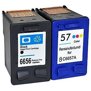 Set de Cartouches d'encre remanufacturées pour Imprimantes HP: 56 & 57 ( C6656ae & C6657ae ) Noir + Couleurs