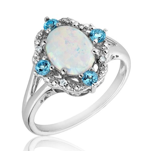 Created Opal, Blue Topaz and Diamond Ring - Size 6
