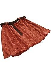 WHATWEARS Orange Girls Pleated Floral Chiffon Mini Skirt with Belt