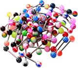 Wholesale Lot of 100PC 14G Mixed Tongue Rings Barbells Body Piercing Jewelry
