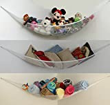 XL Toy Storage Hammock [Also in L Size] for Kids Stuffed Animals, Pool Toys, Sports Gear, Towels, Bedding. Corner Net and Bin Organizer. Top Quality, Suits Any Decor, Easy Install, Machine Washable