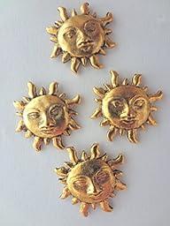 CELESTIAL SUN PUSH PIN, TACKS, ANTIQUE GOLD, SET OF 15 PCS.