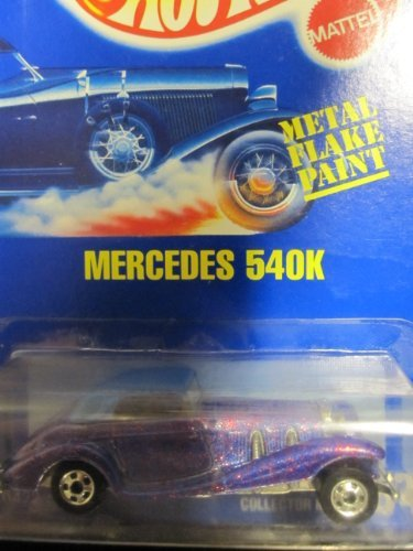 Mercedes 540K 1991 Hot Wheels #164 Purple Metal flake with Basic Wheels on Solid Blue Card