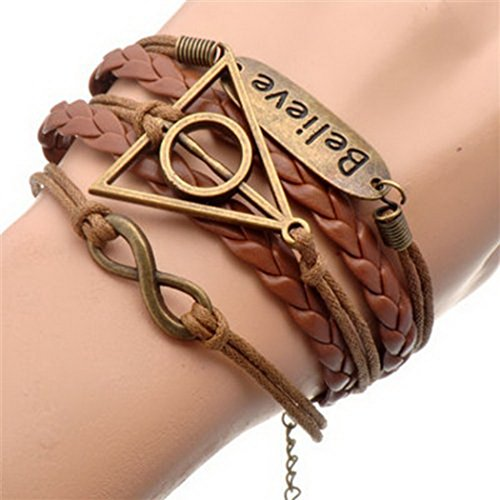 AmazingOS® Handmade Vintage Owls for Harry Potter Deathly Hollows Wings Leather Bracelet