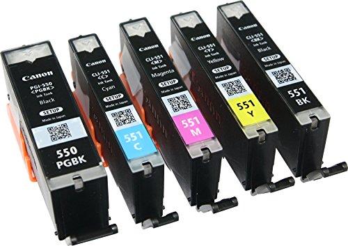 5 cartucce originali Canon PGI550 / CLI551 per Canon Pixma MG 5650, colore: nero, nero fotografico, ciano, magenta, giallo