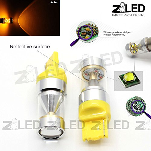 Z8 2Pcs 7440 7441 W21W T20 Cool Super Bright Orange Amber High Power 30W Auto Led Drl Signal Break Back-Up Light,Turning Light Tail Light 2014 Z8Led #9Gt20Sw (Yellow)