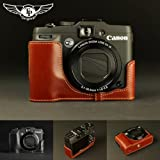 Tan Handmade Genuine Camera Half Leather Case Bag Cover for Canon G16