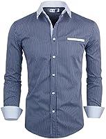 Tom's Ware Mens Classic Slim Fit Vertical Striped Fake Pocket Longsleeve Shirt