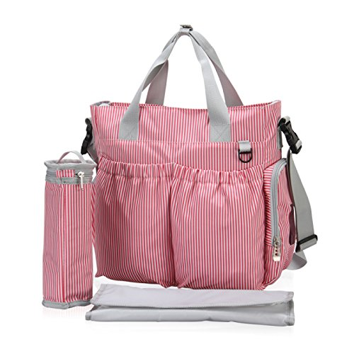 Tickalish Baby Diaper Bag - Stylish, Lightweight, Shoulder or Tote Organizer - Plus Changing Pad and Insulated Bottle Holder - 12 Pockets - Red and White Stripe