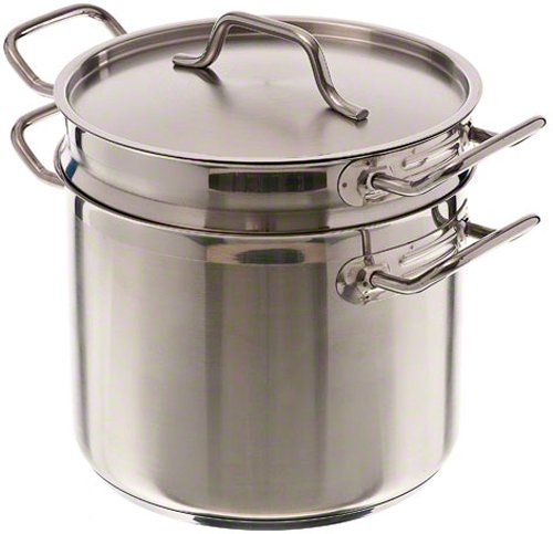 Update International SDB-20 Stainless Steel Induction Ready Double Boiler with Cover, Natural Finish, 20-Quart