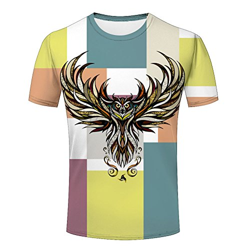 Colorful Tribal Owl Flying Wings Men's T shirt XXL