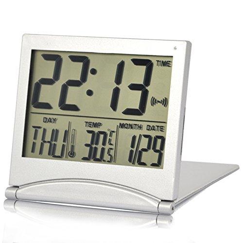 Trixes-Wecker-Uhr-Silber-Digital-LCD-Schreibtischuhr-Temperatur