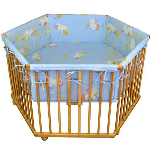 honey bee baby laufgitter laufstall 6 eckig einlage blau ente 3 fach h henverstellbar. Black Bedroom Furniture Sets. Home Design Ideas