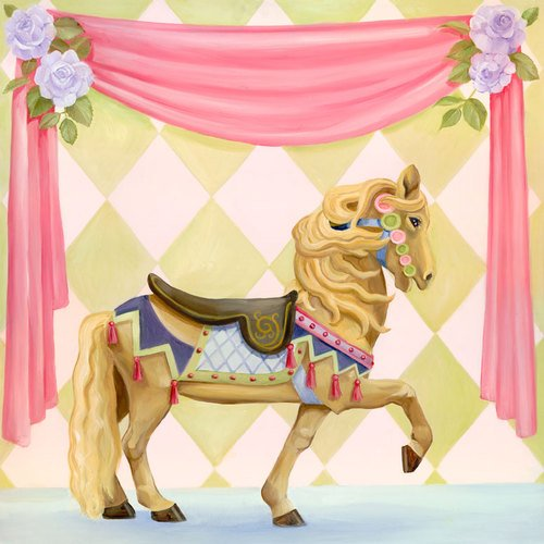Oopsy daisy carousel horse stretched canvas wall art by jill bachman pabich, 21 by 21-inch
