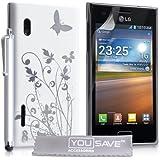 LG Optimus L5 E610 Zubehör Tasche Harte Blumen Schmetterling Hülle Weiß / Silber Mit Griffel Stift