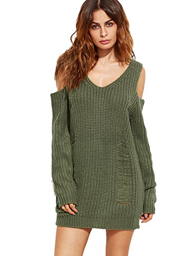 ROMWE Women's Casual Long Sleeve Cold Shoulder Ripped Sweater Dress Green One-size