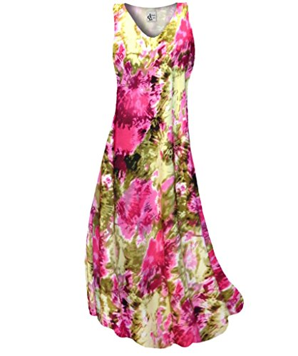 Sanctuarie Designs Women'S /1Xhot Pink Olive Tie Dye Slinky Print V Neck Tank Plus Size Supersize Maxi Dress/1X/./