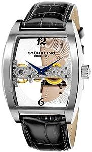 Stuhrling Original Men's 303.33152 Leisure Millennia Ravine Mechanical Skeleton Silver Tone Watch