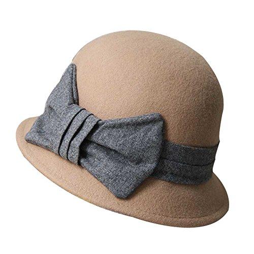 Chapeau-de-feutre-de-laine-vintage-Chapeau-de-bowler-de-Bowknot-Derby-Billycock-Fedora-chameau