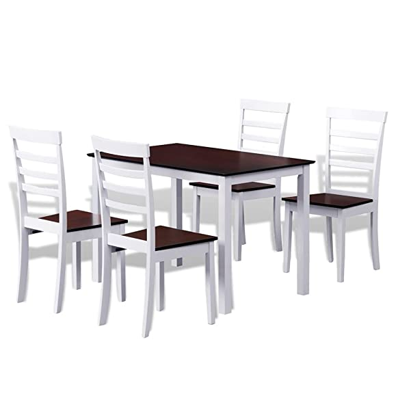 vidaXL Set Tavolo da bar cucina sala da pranzo e 4 sedie in legno marrone bianco