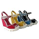BAMBOO ELLEN-13 Womens Ankle Strap White Lug Sole Platform Wedge Sandals