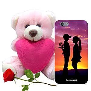 Valentine Gift Homesogood Love Is Full Of Surprise Multicolor 3D Mobile Case For iPhone 6 (Back Cover) With Teddy & Red Rose